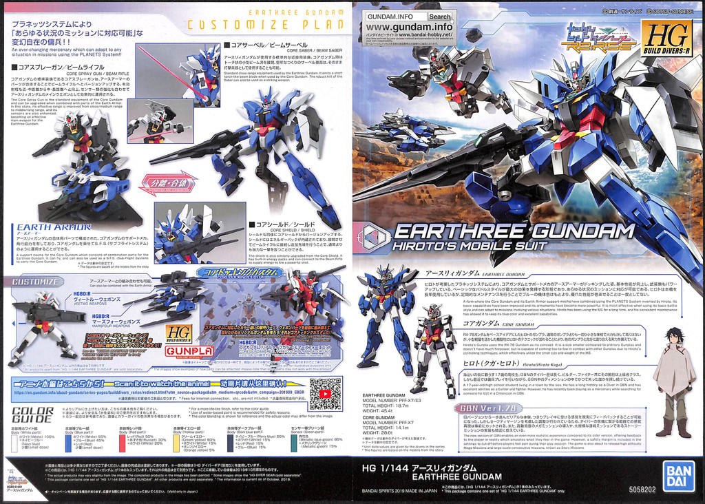 Bandai HG Gundam Build Divers Re:RISE 01 Earthree Gundam 1/144 Scale Kit