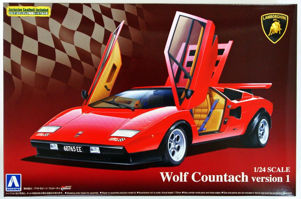 Aoshima 49600 Lamborghini Countach Wolf Countach Version 1 1/24 Scale Kit