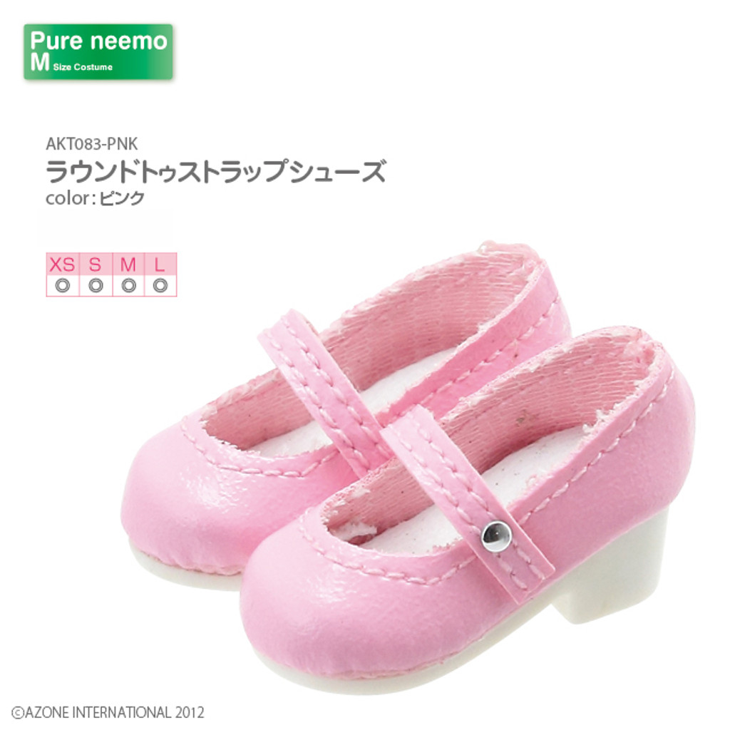 Azone AKT083-PNK Pure Neemo XS-L 1/6 Round Toe Strap Shoes (Pink)