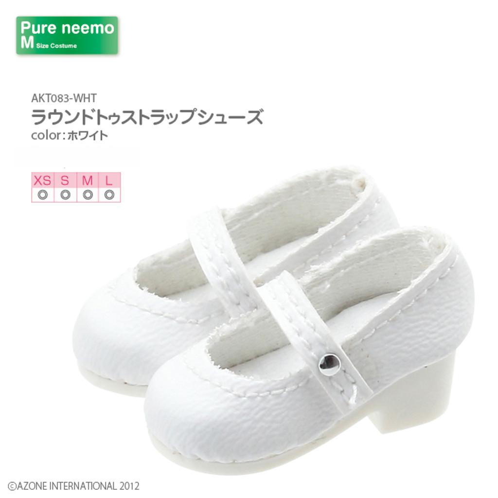 Azone AKT083-WHT Pure Neemo XS-L 1/6 Round Toe Strap Shoes (White)