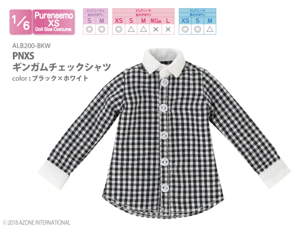 Azone ALB200-BKW Pure Neemo PNXS Gingham Check Shirt (Black x White)