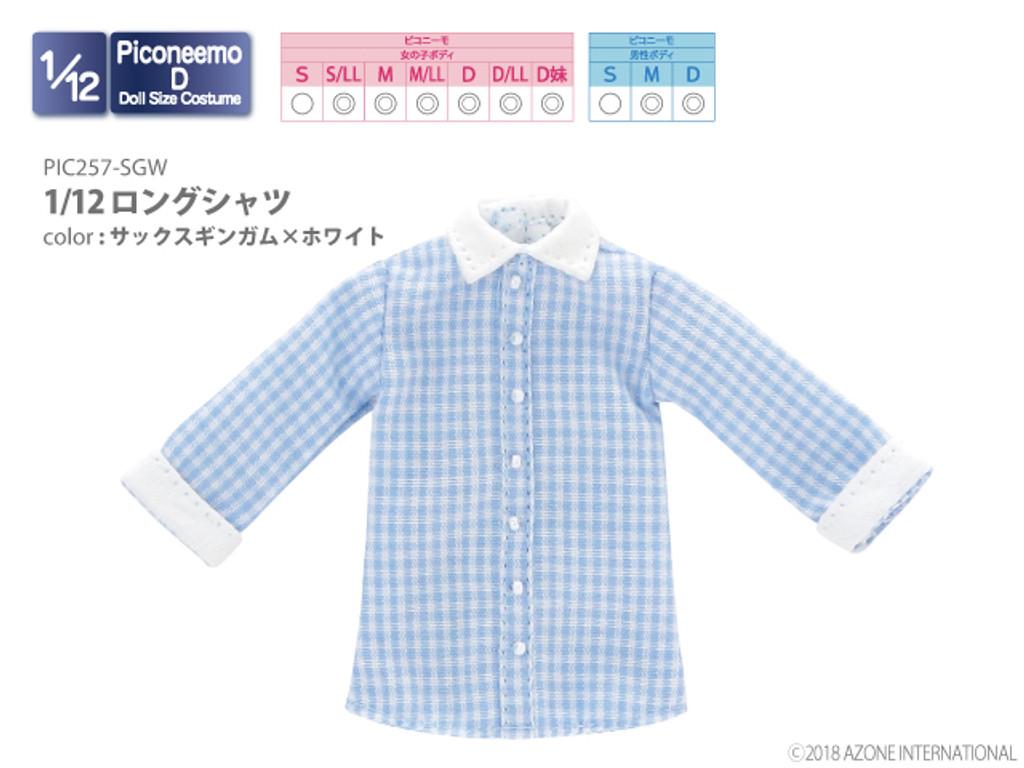 Azone PIC257-SGW 1/12 Long Shirt (Sax Gingham x White)
