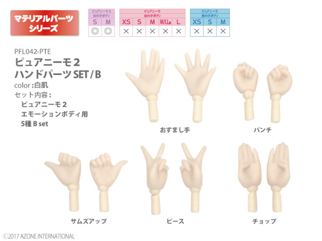 Azone PFL042-PTE Pure Neemo 2 Hand Parts Set B