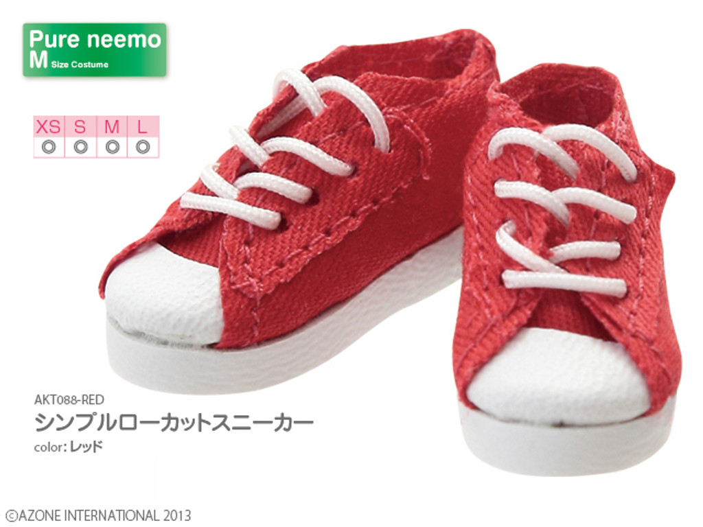 Azone AKT088-RED Pure Neemo Simple Low Cut Sneakers (Red)