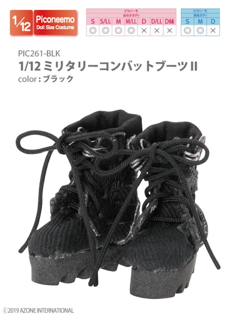 Azone PIC261-BLK 1/12 Piconeemo S Military Combat Boots II (Black)