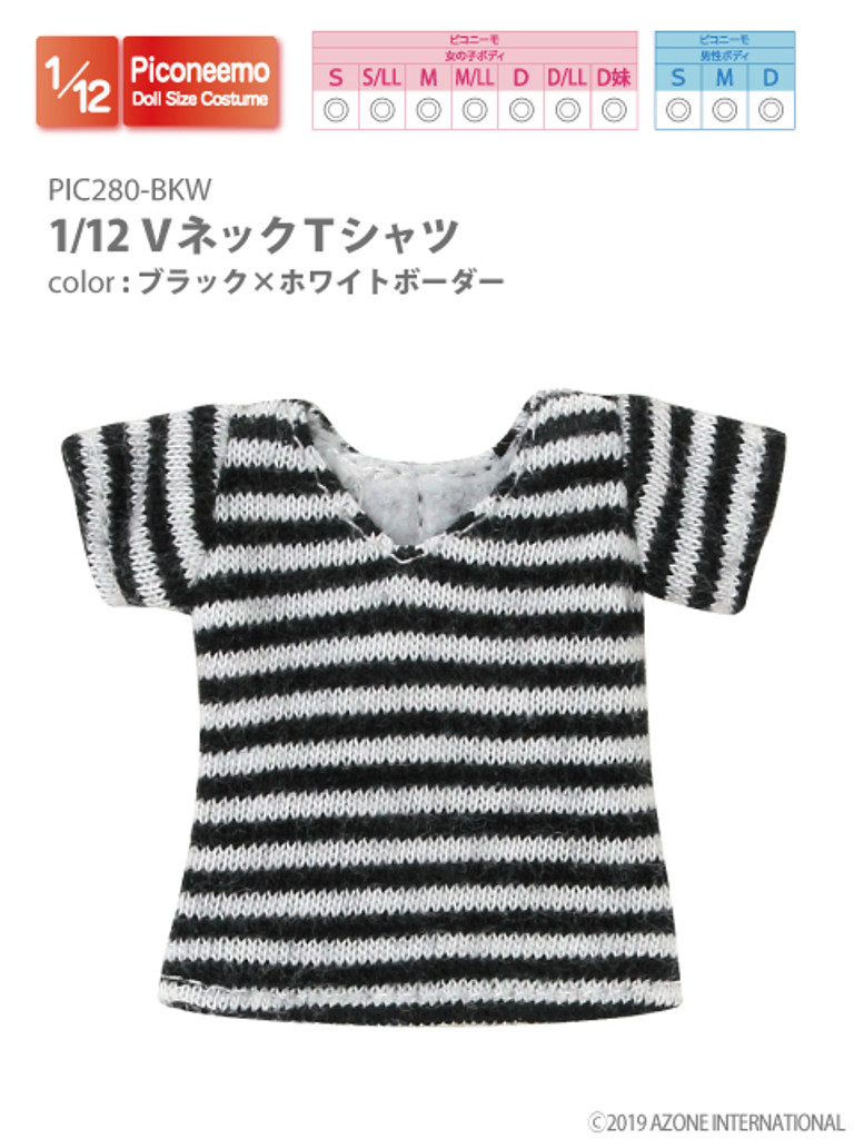 Azone PIC280-BKW 1/12 Piconeemo V-neck T-shirts (Black x White Border)