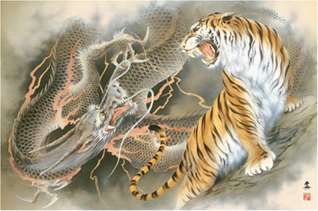 APPLEONE Jigsaw Puzzle 1000-311 Japanese Dragon and Tiger (1000 Pieces)