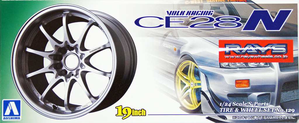 Aoshima 10020 Tire & Wheel Set No. 129 Volk Racing CE28N (Titanium Silver) 19 inch 1/24 Scale Kit