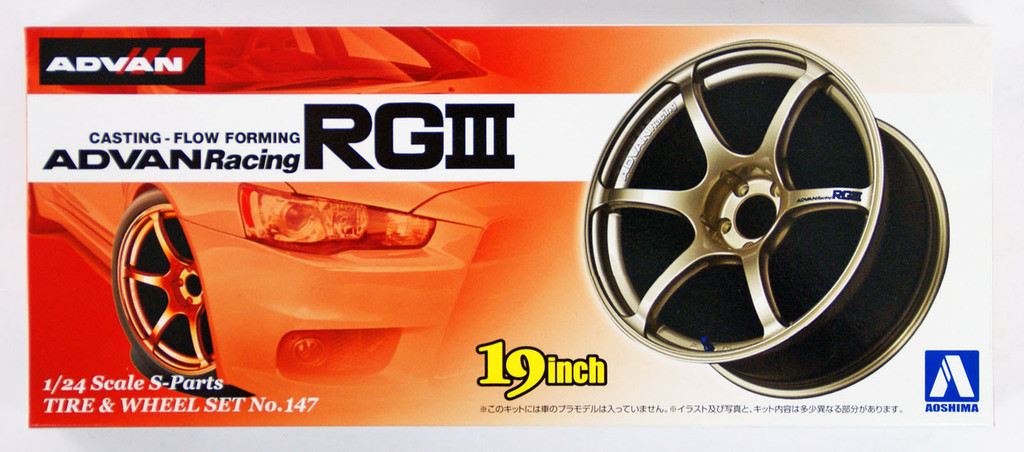 Aoshima 09024 Tire & Wheel Set No.147 ADVAN Racing RG III 19 inch 1/24 scale kit