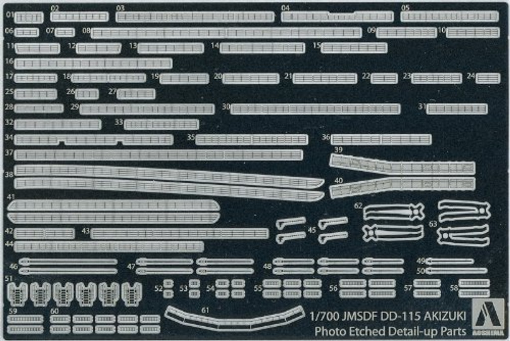 Aoshima 08157 JMSDF Japanese Defense Ship DD-115 AKIZUKI Photo Etched Parts 1/700 Scale