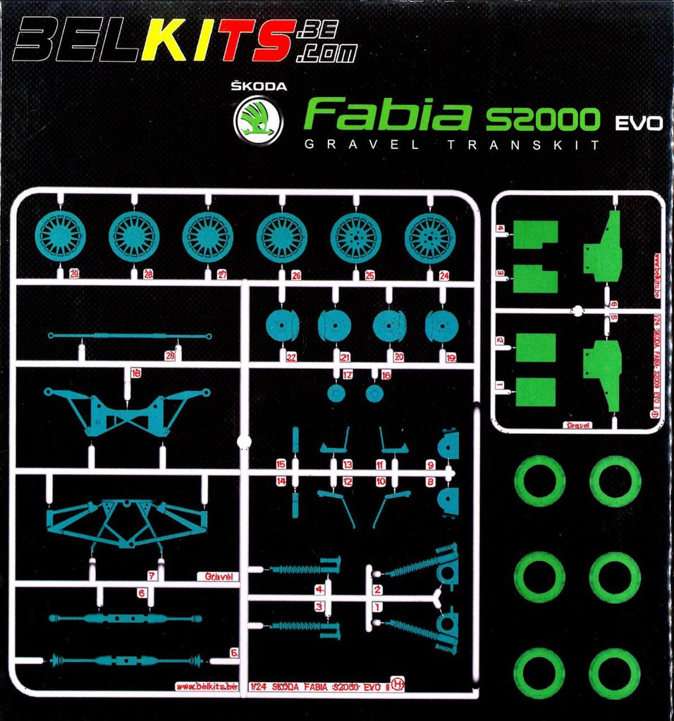 Aoshima (BELKitS) 84342 Option Parts Set for Aoshima 84328 Škoda Fabia 1/24 Scale Kit