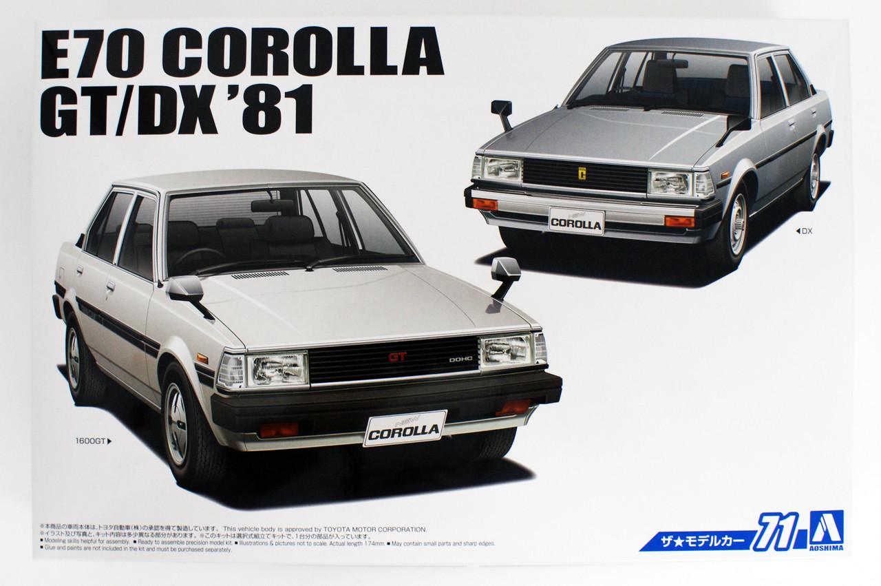 Aoshima 55243 Model Car 71 Toyota E70 Corolla Sedan GT DX 1981 1//24 scale kit