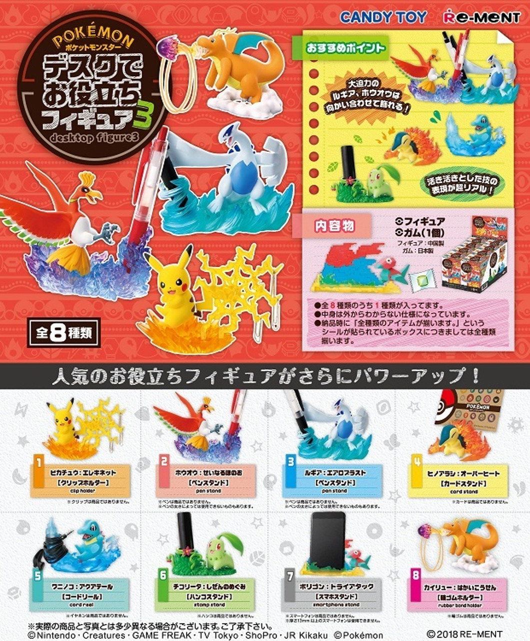 Re-Ment Miniature PokeMon Pikachu Desktop Figure Part 3 # 4 Cyndaquil