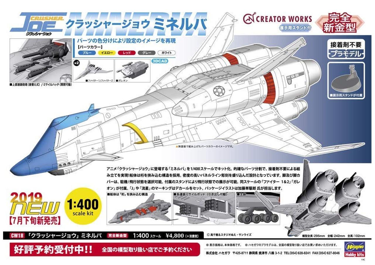 Hasegawa 1//400 Crusher Joe Minerva Plastic Model Kit