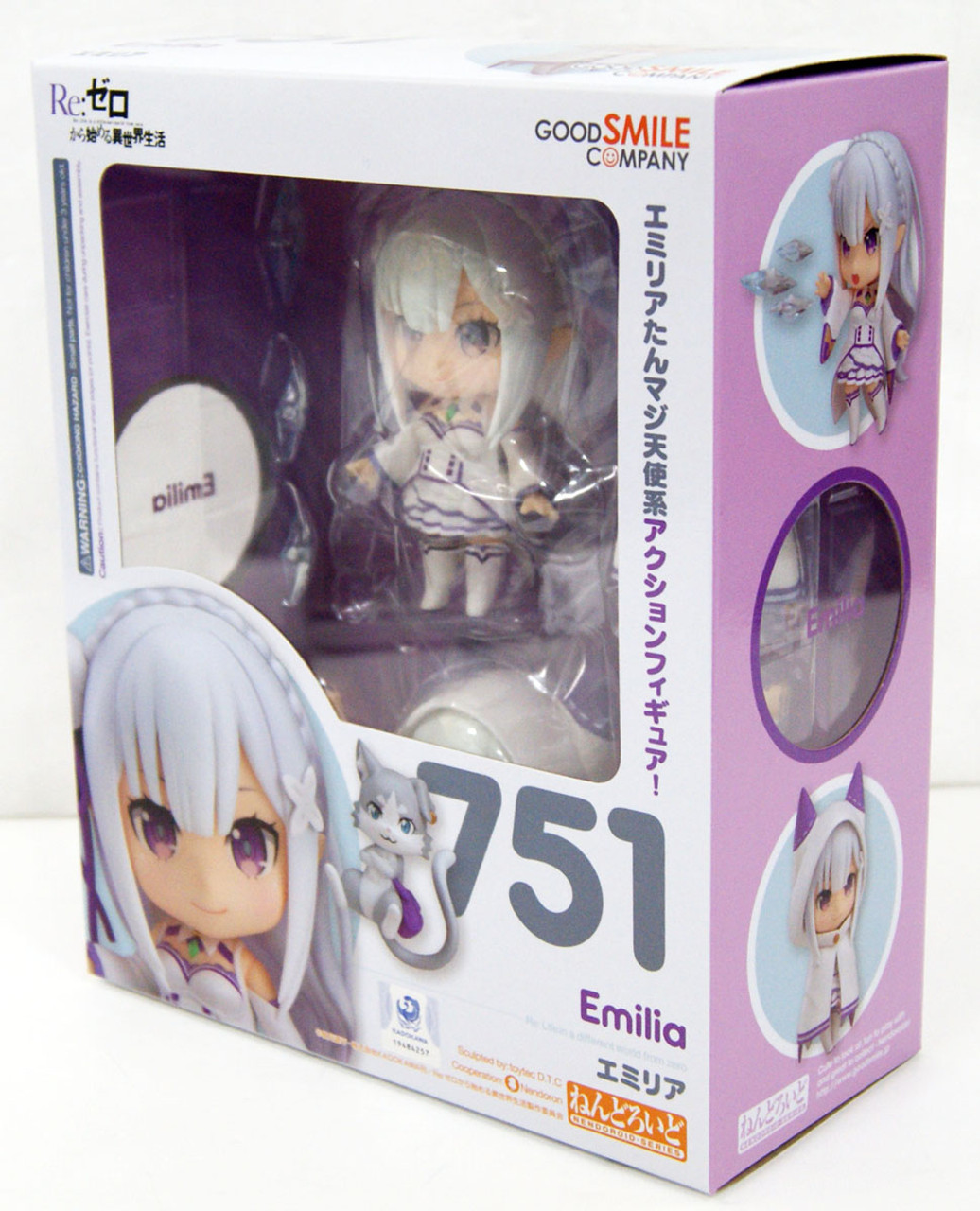 FIGURA EMILIA RE:ZERO NENDOROID 751 FIGURE Re Zero 10 cm with box.