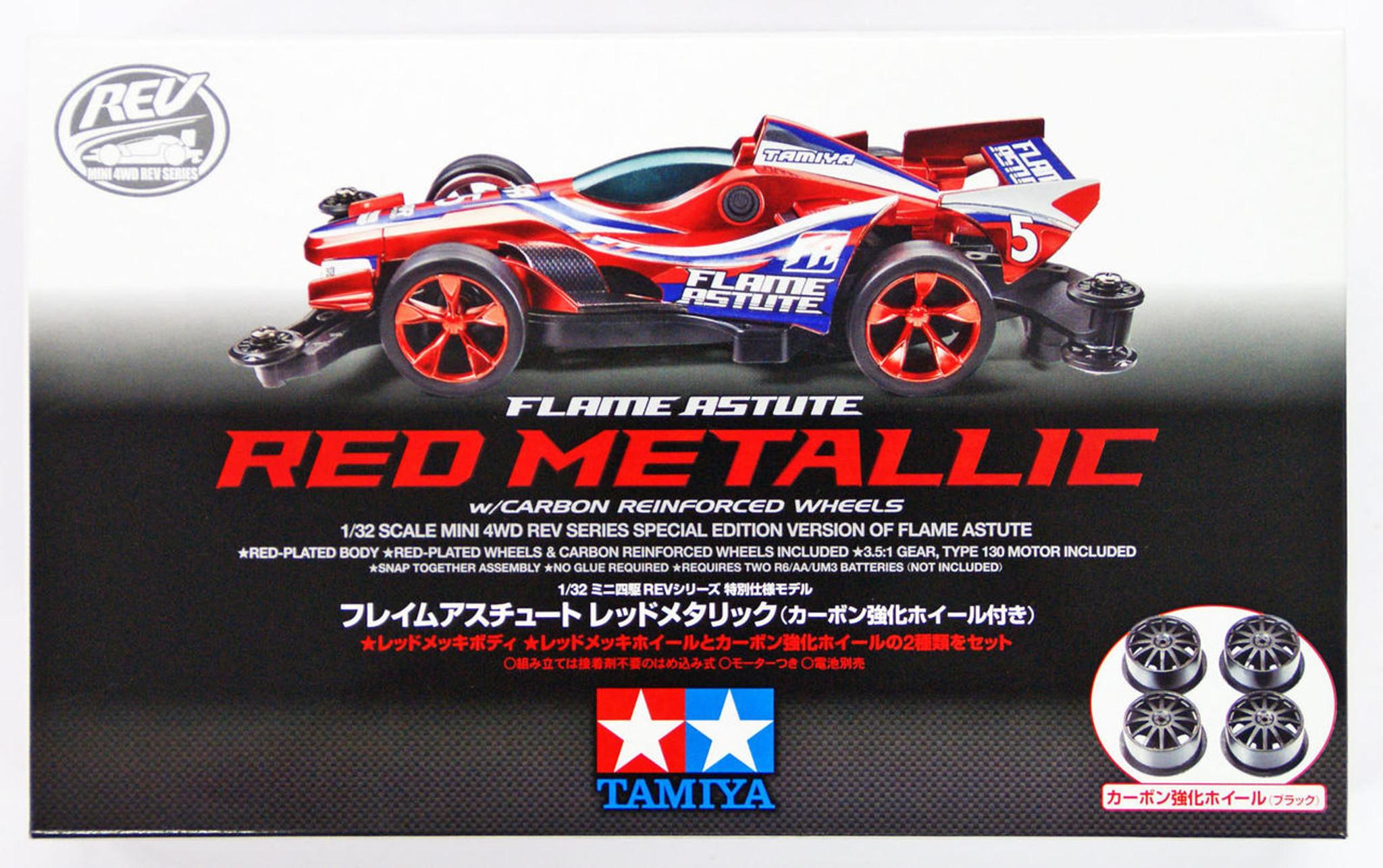 Tamiya Mini 4wd 95292 Flame Astute Red Metallic W Carbon Reinforced Super Ii Chassis Original Wheels 1 32