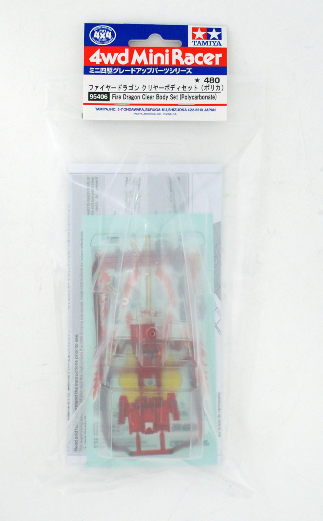 Tamiya 95406 Mini 4WD Fire Dragon Clear Body Set (Polycarbonate) 1/32 Scale