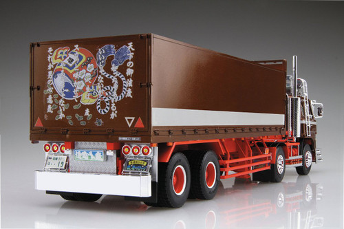 Aoshima 52068 Japanese Decoration Truck The Stage of Debris (Flat Box Trailer) 1/32 Scale Kit