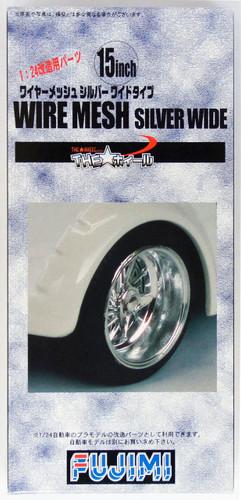 Fujimi TW19 Wire Mesh Silver Wide Wheel & Tire Set 15 inch 1/24 Scale Kit