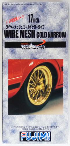 Fujimi TW20 Wire Mesh Gold Narrow Wheel & Tire Set 17 inch 1/24 Scale Kit