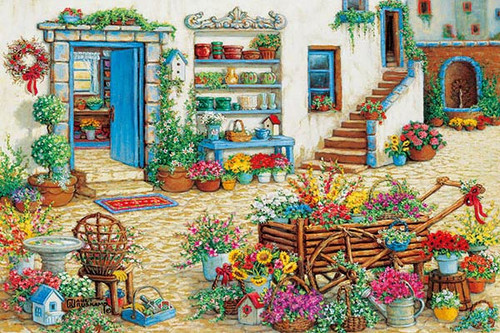 APPLEOne Jigsaw Puzzle 1000-793 Janet Kruskamp Colorful Patio (1000 Pieces)