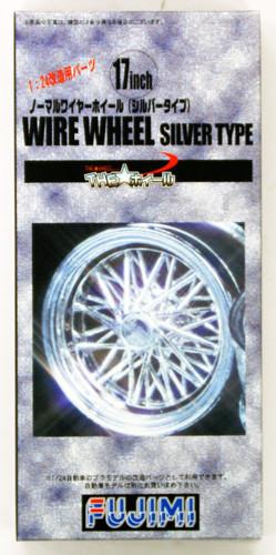 Fujimi TW53 Wire Wheel Silver Type Wheel & Tire Set 17 inch 1/24 Scale Kit