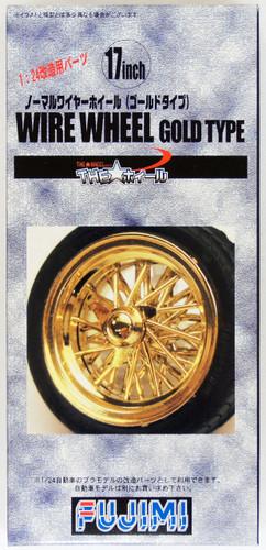 Fujimi TW56 Wire Wheel Gold Type Wheel & Tire Set 17 inch 1/24 Scale Kit