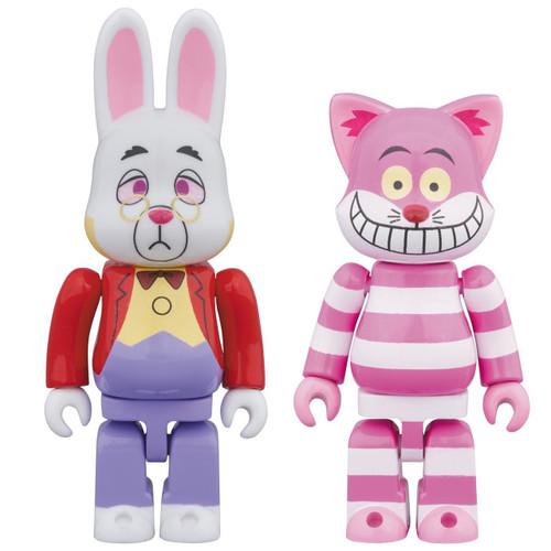 Medicom Bearbrick R@BBRICK & NY@BRICK White Rabbit Cheshire Cat Set