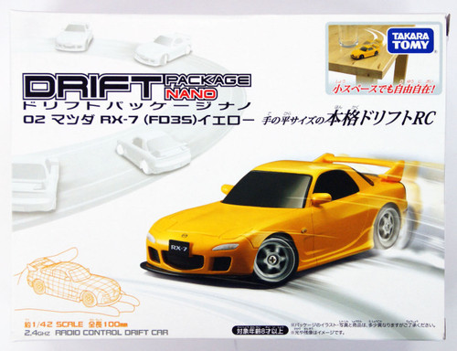 Takara Tomy Drift RC Series Drift Package Nano 02 MAZDA RX-7 (FD3S) Yellow