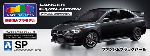 Aoshima 50903 Lancer Evolution X Final Ed. Phantom Black Pearl (Pre-painted) 1/24 scale kit