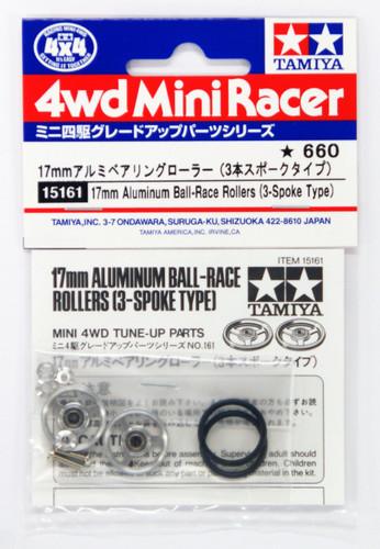 Tamiya 15161 Mini 4WD 17mm Alumimum Ball-Race Rollers (3-Spoke Type)