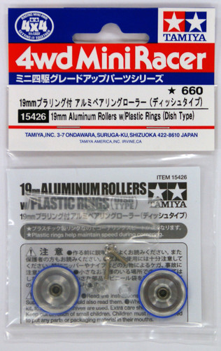 Tamiya 15426 Mini 4WD 19mm Aluminum Rollers with Plastic Rings (Dish Type)