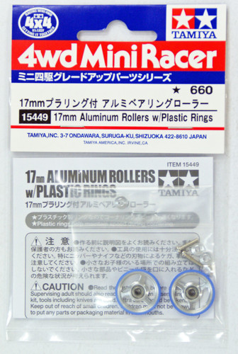 Tamiya 15449 Mini 4WD 17mm Alum Rollers with Plastic Rings