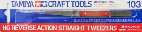 Tamiya 74103 Craft Tools - HG Reverse Action Straight Tweezers