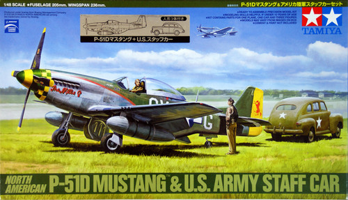 Tamiya 89732 North American P-51D Mustang & US Army Staff Car 1/48 Scale Kit