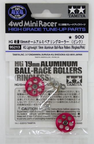 Tamiya 95213 Mini 4WD 19mm Aluminum Ball-Race Rollers (Ringless/Pink)