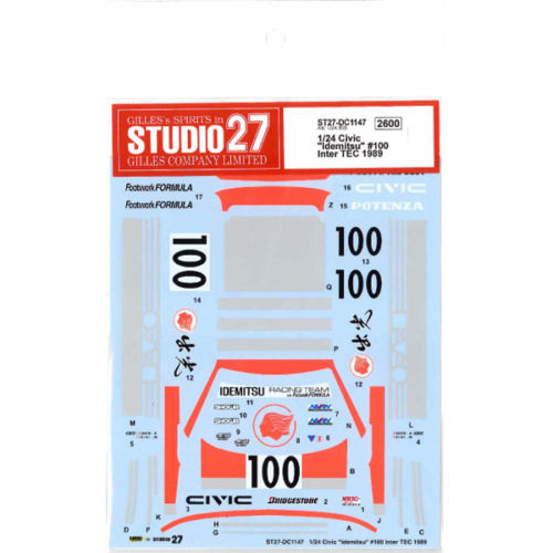 Studio27 ST27-DC1147 Honda Civic Idemitsu #100 Inter TEC Decal for Aoshima 1/24