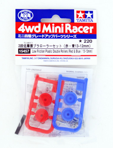 Tamiya 15457 Mini 4WD Low Friction Plastic Double Rollers Red/Blue 13-12mm