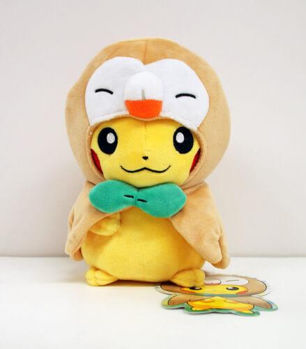 Pokemon Center Original Plush Doll Rowlet Poncho Pikachu 630-221489