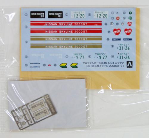 Aoshima 53478 The Model Car 46 NISSAN GC10 SKYLINE 2000GT '71 1/24 scale kit