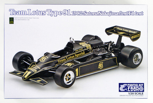 Ebbro 20021 Team Lotus Type 91 1982 Satoru Nakajima First F1 Test  1/20 scale plastic model kit