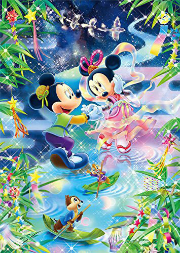 Tenyo Japan Jigsaw Puzzle D-300-292 Disney Mickey & Minnie Star Festival Tanabata (300 Pieces)