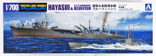 Aoshima Waterline 12123 IJN Oil Supply Ship Hayasui & USS Submarine 1/700 scale kit
