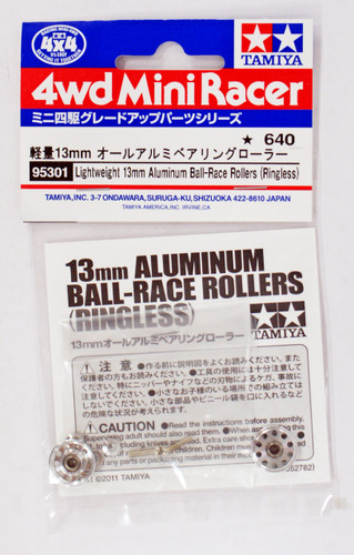Tamiya 95301 Mini 4WD 13mm Ball-Race Rollers LW Aluminum (Ringless)
