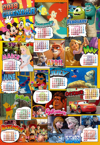 Tenyo Japan Jigsaw Puzzle D-1000-485 Disney 2018 Calendar (1000 Pieces)