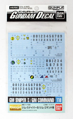 Bandai Gundam Decal No.118 for MG 1/100 Scale GM Sniper II & GM Command (249177)