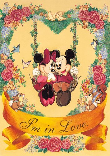 Tenyo Japan Jigsaw Puzzle D-108-813 Disney Mickey & Minnie I'm in Love (108 Pieces)