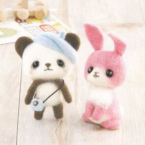 Hamanaka H441-369 Felt Wool Mascot Panda & Rabbit Kit