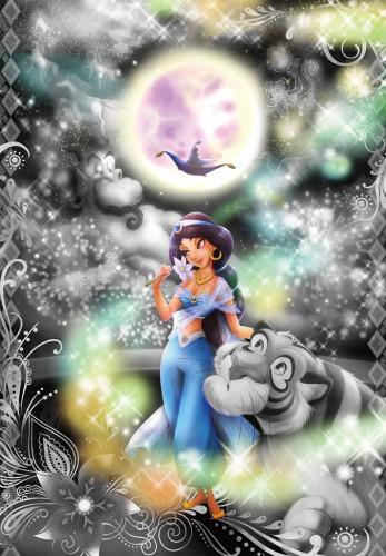 Tenyo Japan Jigsaw Puzzle DFG-500-104 Frost Art Disney Aladdin Jasmine (500 Pieces)