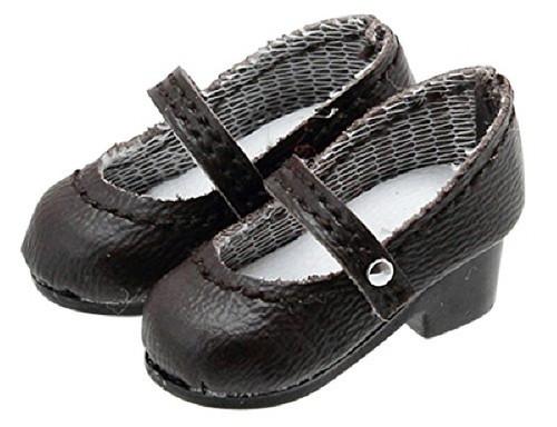 Azone AKT083-BRN Round Toe Strap Shoes Dark Brown